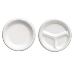"Foam Dinnerware, Plate, 8 7/8"" dia, White, 125/Pack, 4 Packs/Carton"