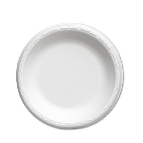 "Foam Dinnerware, Plate, 10 1/4"" dia, White, 125/Pack, 4 Packs/Carton"