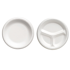 "Foam Dinnerware, Plate, 3-Comp, 10 1/4"" dia, White, 125/Pack, 4 Packs/Carton"