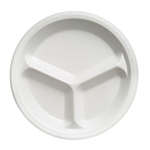 "Elite Laminated Foam Dinnerware, 3-Comp Plate, 10.25""Dia, White, 125/PK, 4 PK/CT"