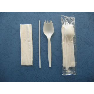 "Wrapped Cutlery Kit, Spork/Straw/Napkin, 5.25"", White, 1000/Carton"