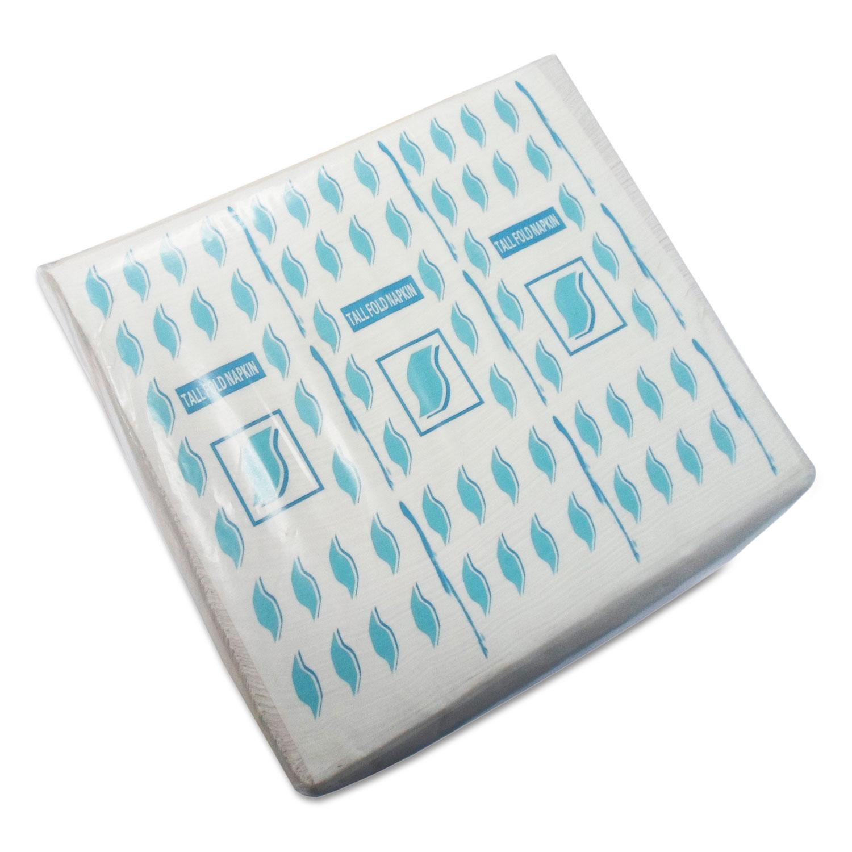 Tall-Fold Napkins, 1-Ply, 7 x 13 1/4, White, 10,000/Carton