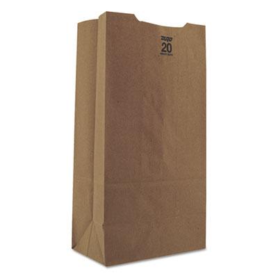 #20 Paper Grocery Bag, 50lb Kraft, Heavy-Duty 8 1/4 x 5 5/16 x 16 1/8, 500 bags