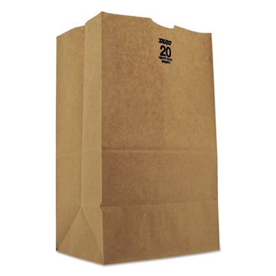 #20 Squat Paper Grocery, 50lb Kraft, Heavy-Duty 8 1/4 x5 5/16 x13 3/8, 500 bags