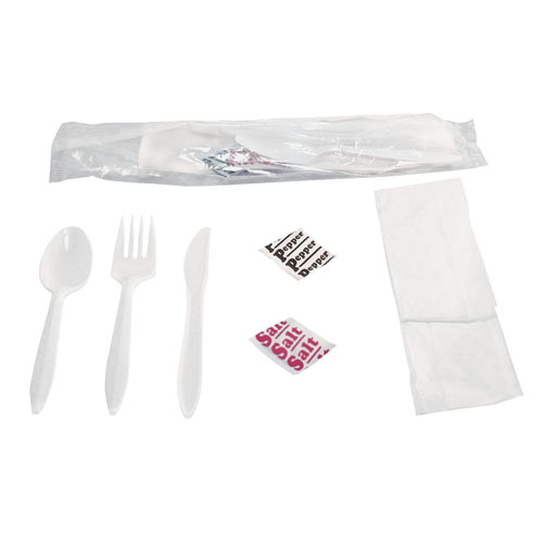 Six Piece Wrapped Cutlery Kit, 250 Kits
