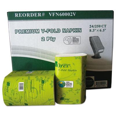 Premium V-Fold Pop-Up Dispenser Napkin, Sugarcane Pulp,6.5x8.3,250/Pk, 24Pk/Ctn