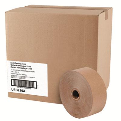 "Gummed Kraft Sealing Tape, 3"" Core, 2"" x 600 ft, Brown, 12/Carton"