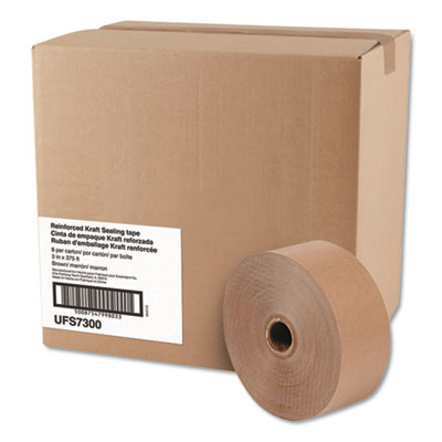 """Glass-Fiber Reinforced Gummed Kraft Sealing Tape, 3"""" Core, 3"""" x 375 ft, Brown, 8/Carton"""