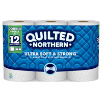 Georgia-Pacific 96362 Quilted Northern Soft and Strong Bathroom Tissue, 2 Ply, 6 Roll, Paper, White