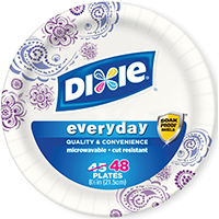 Dixie 15128 Disposable, Heavy Duty, Soak Proof Paper Plate, 48 Count Capacity, 8-5/8 in Dia