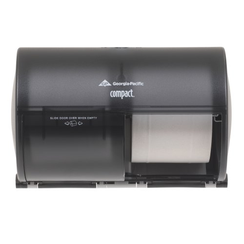COMPACT BATHROOM TISSUE DISPENSER DOUBLE ROLL SIDE BY SIDE SMOKE GRAY