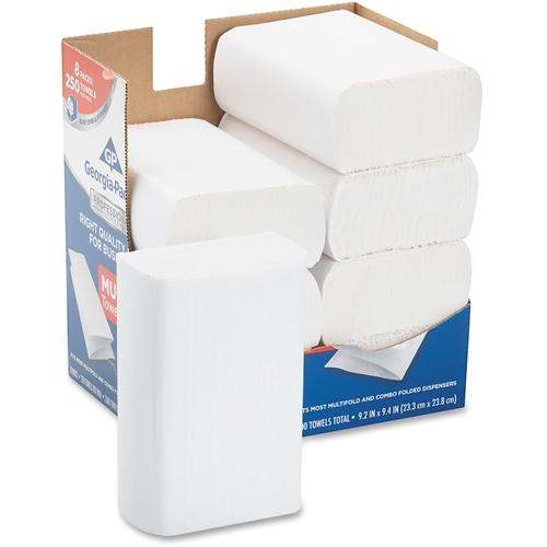 Professional Series Premium Paper Towels,M-Fold,9 2/5x9 1/5, 250/Bx, 8 Bx/Carton