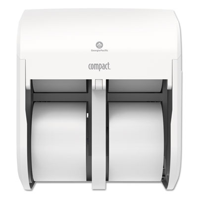 Compact Quad Vertical Four Roll Coreless Tissue Dispenser, 12.063 x 14.438,White
