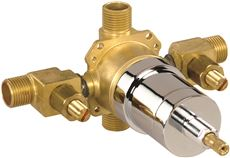CERAMIC DISC CARTRIDGE PRESSURE BALANCE VALVE, IPS/SWEAT WITH STOPS, ROUGH BRASS