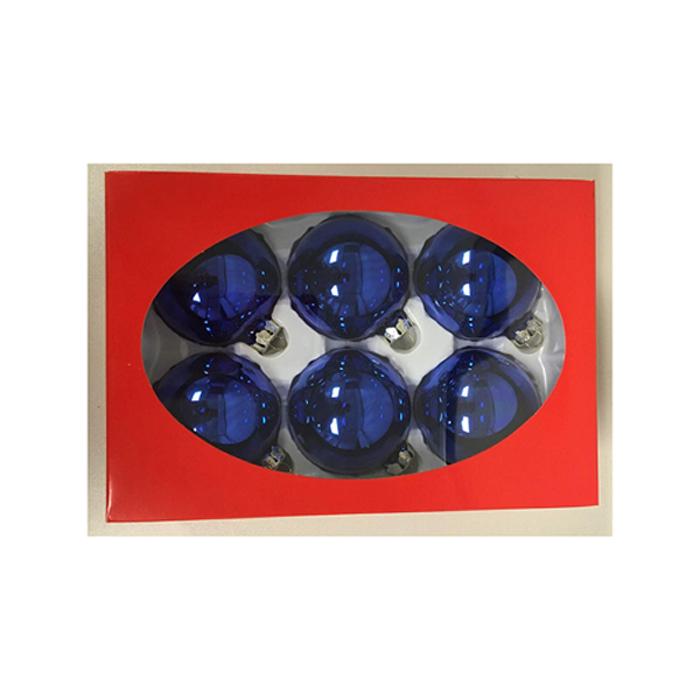 ORNMTS BALL GLASS BLU 6CT 67MM