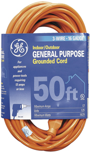 GE JASHEP51926 1-OUTLET INDOOR/OUTDOOR EXTENSION CORD (50FT)