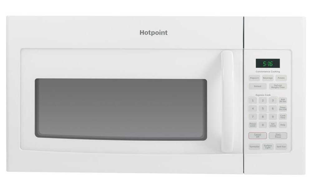 HOTPOINT� 1.6 CU.FT. OVER-THE-RANGE MICROWAVE OVEN, WHITE, 950 W
