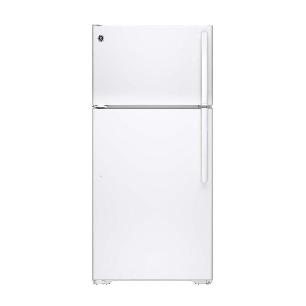 GE� ENERGY STAR� 14.6 CU. FT. TOP FREEZER REFRIGERATOR, WHITE, REVERSIBLE DOOR SWING