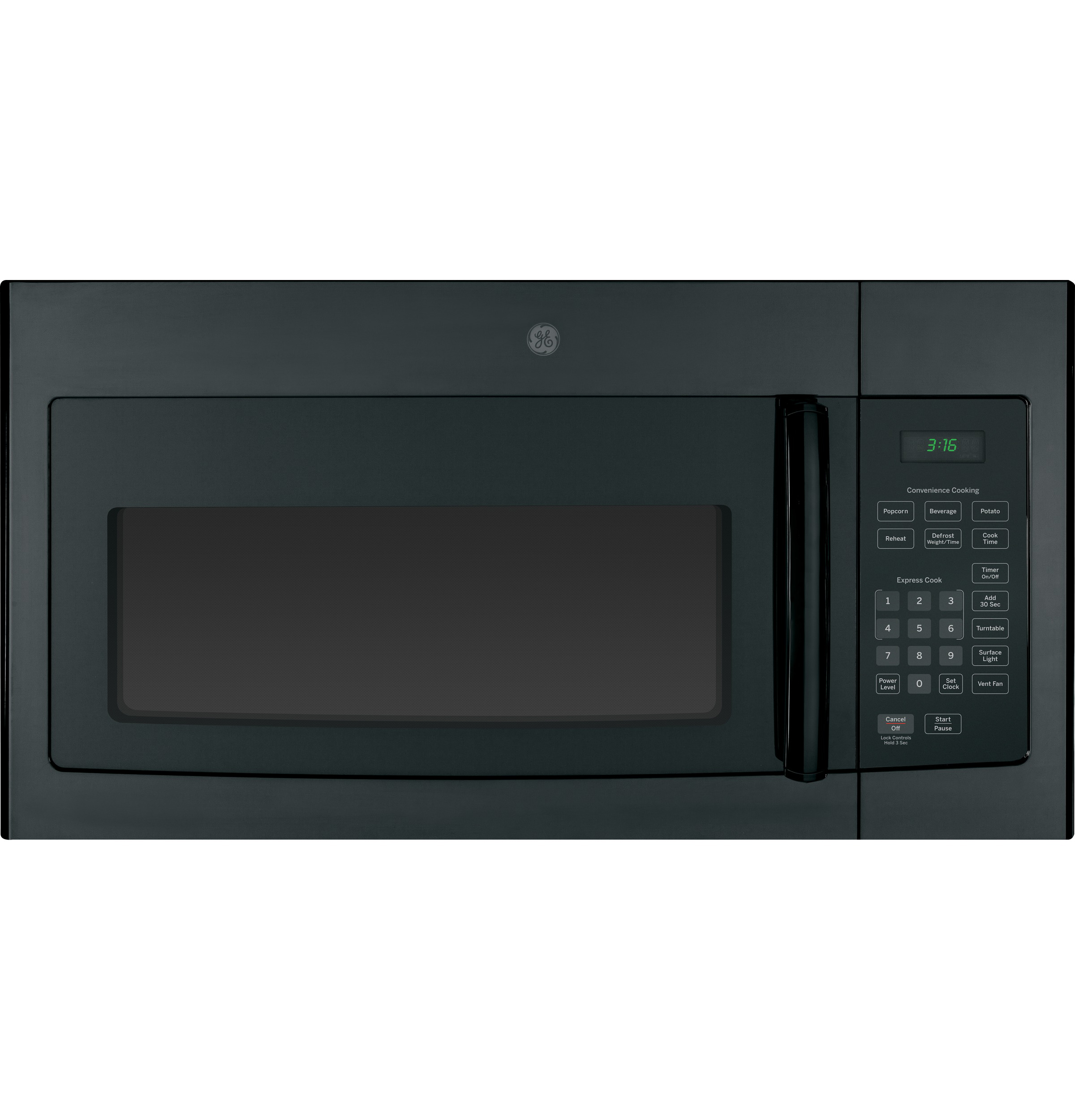 GE� 1.6 CU. FT. OVER-THE-RANGE MICROWAVE OVEN, BLACK, 1000 WATTS
