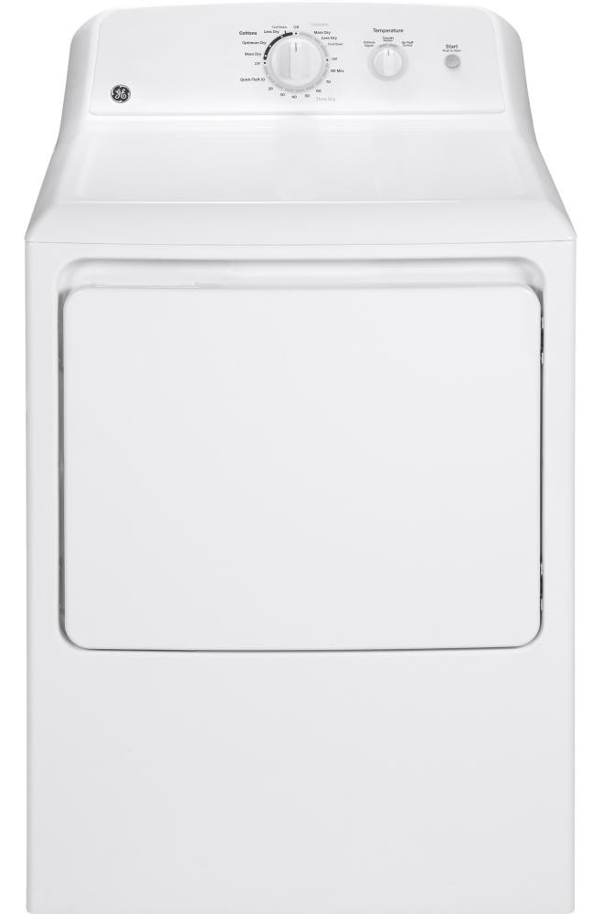 GE� 6 CU.FT. ELECTRIC DRYER, WHITE, 6 CYCLES, REVERSIBLE DOOR