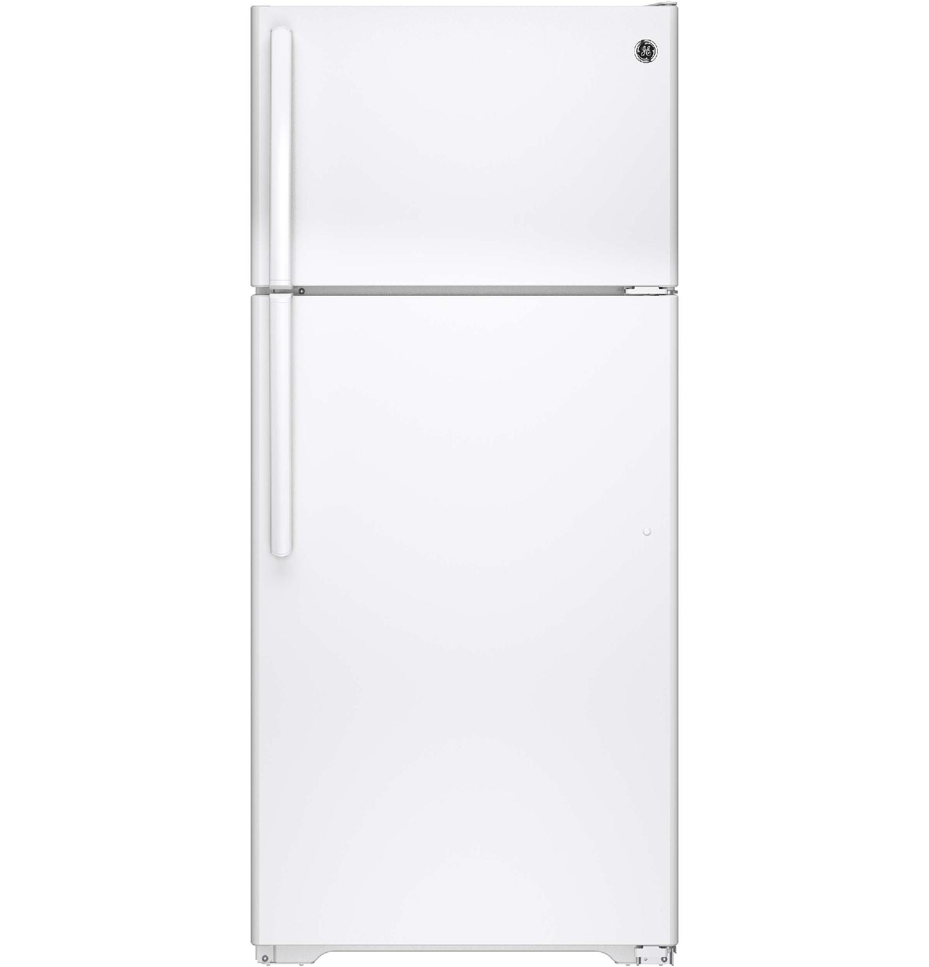 GE� 15.5 CU. FT. TOP FREEZER REFRIGERATOR, WHITE, REVERSIBLE DOOR SWING