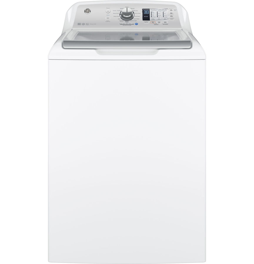 GE® 4.6 DOE Cu. Ft. Capacity Stainless Steel Electronic Washer, White with Silver Backsplash