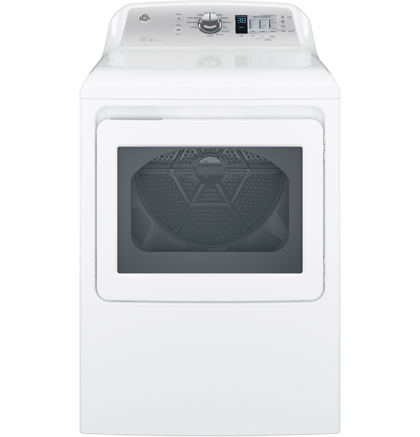 GE� ENERGY STAR� 7.4 CU. FT. FRONT LOAD GAS DRYER, WHITE, 12 CYCLES, REVERSIBLE DOOR