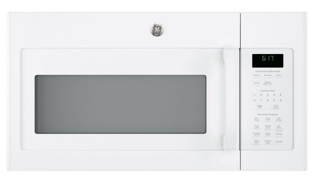 GE� 1.7 CU. FT. OVER-THE-RANGE MICROWAVE OVEN, WHITE, 1000 WATTS