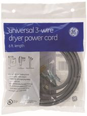 GE� UNIVERSAL DRYER CORD, 3 WIRE, 6 FT., 30 AMP