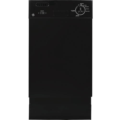 GE� BUILT-IN 18-INCH DISHWASHER WITH FRONT CONTROLS, BLACK, 7 CYCLES / 12 OPTIONS