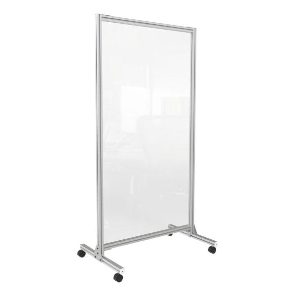 """Acrylic Mobile Divider, 38.5"""" x 23.75"""" x 74.19"""", Acrylic; Aluminum, Clear"""
