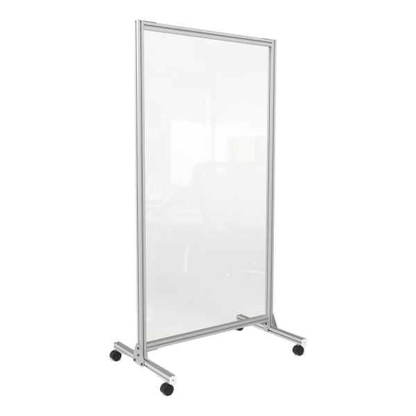 """Acrylic Mobile Divider with Thermometer Access Cutout, 38.5"""" x 23.75"""" x 74.19"""", Clear"""