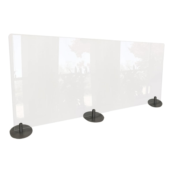 Desktop Free Standing Plastic Protection Screen, 23.75 x 5 x 59, Clear