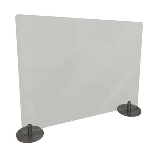 Desktop Free Standing Plastic Protection Screen, 23.75 x 5 x 29, Frost
