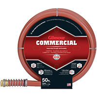 Gilmour 25 Commercial Garden Hose With Heavy Duty Brass Couplings with O-ring, 3/4 in ID, 50 ft L