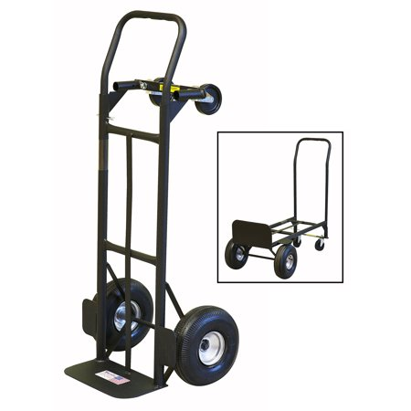 Gleason 30080S Convertible Hand Truck, 800 lb, 10 in Pneumatic Wheel, Flow Back Handle, Steel
