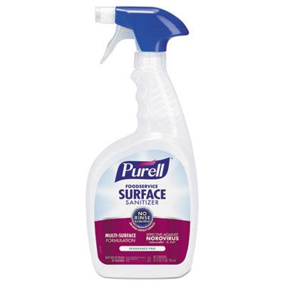 Foodservice Surface Sanitizer, Fragrance Free, 32 oz Spray Bottle, 3/Carton