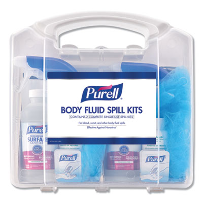 "Body Fluid Spill Kit, 4.5"" x 11.88"" x 11.5"", One Clamshell Case with 2 Single Use Refills/Carton"