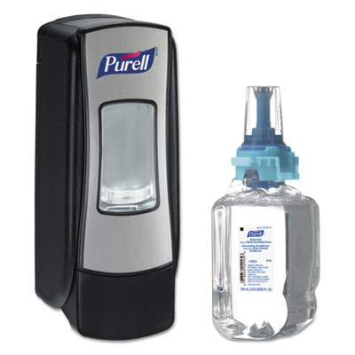 ADX-7 Advanced Instant Hand Sanitizer Kit, 700mL, Manual, Chrome/Black, 4/CT