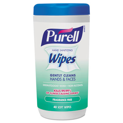 Hand Sanitizing Wipes, 5 7/10 x 7 1/2, Fragrance Free, 40/Canister