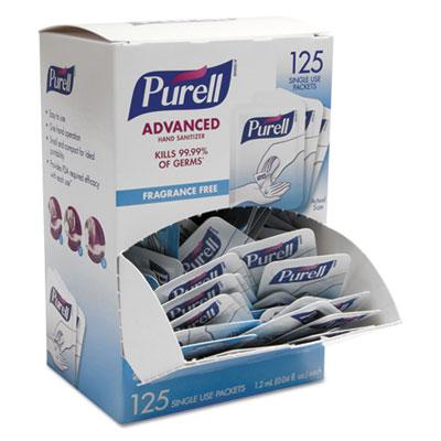 Advanced Hand Sanitizer Single Use, 1.2 mL, Packet, Clear, 125/Box, 12 Box/CT