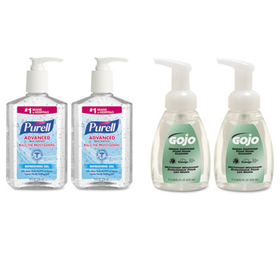 Advanced Hand Sanitizer/Hand Soap Kit, 8 oz Sanitizer, 7.5oz Cleanser