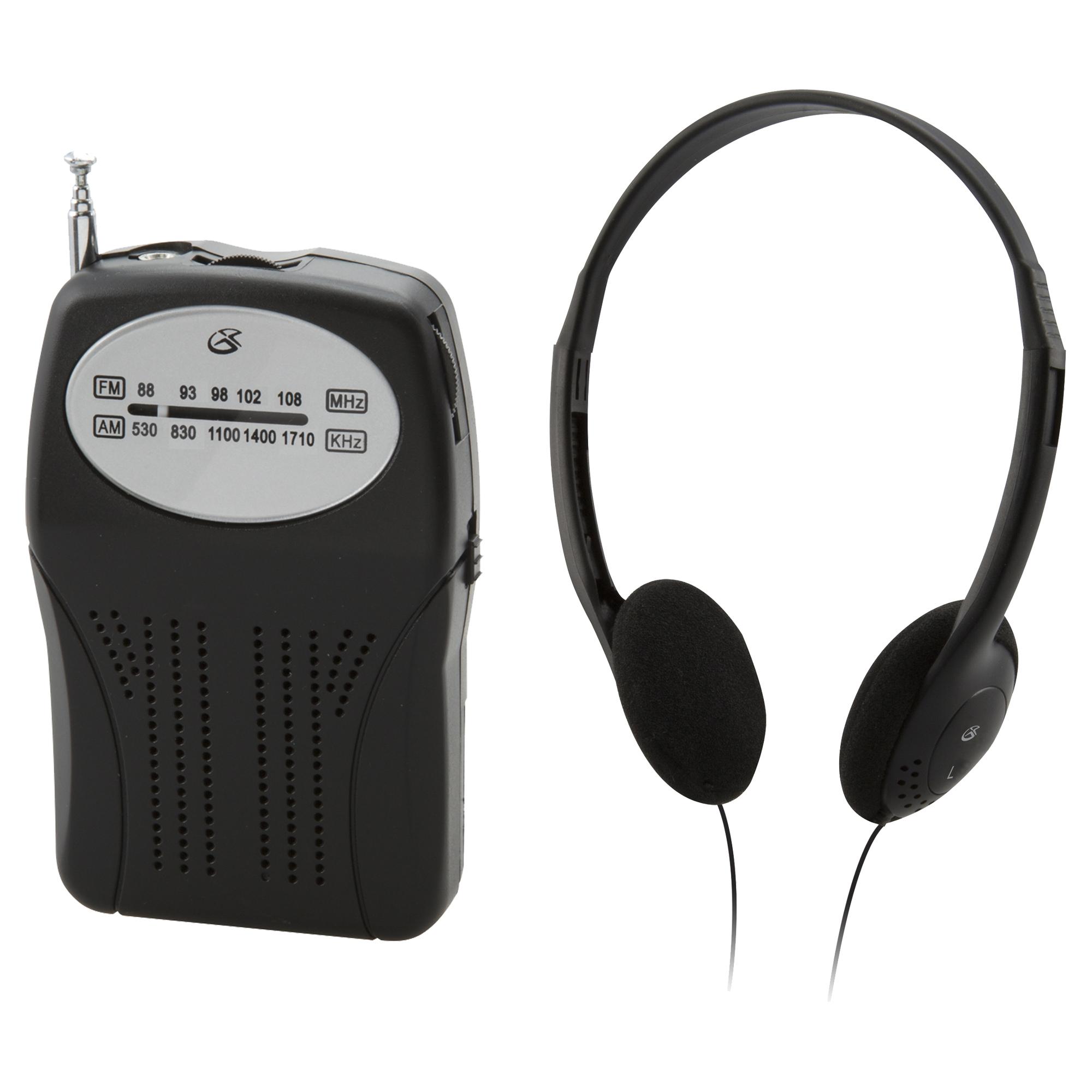 GPX Portable Handheld AM/FM Radio with Headphones