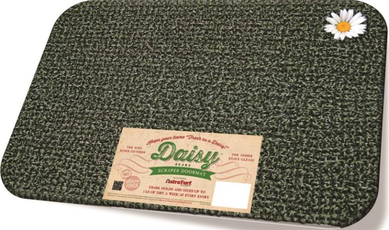 GrassWorx Daisy Rectangle Door Mat, 23-1/2 in L X 17-1/2 in W, Forest Green