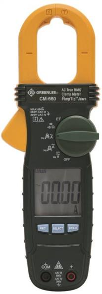 Greenlee CM-600 AC Clamp-On Meter, 600 VAC, 600 A, 2000 ohm
