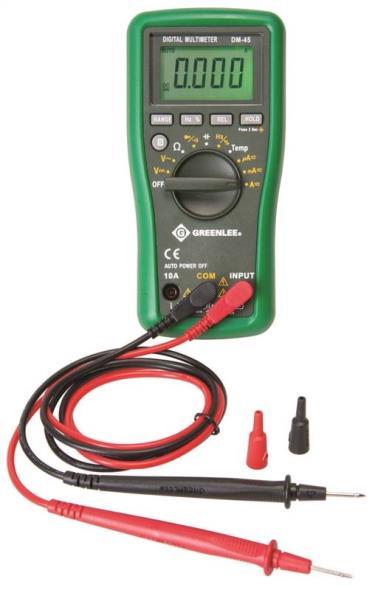 Greenlee Textron DM-45 Digital Multimeters, Manual Ranging, Multi-Purpose
