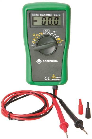 Greenlee DM-25 Digital Multimeter, 600 VAC/DC 1.5 V/9 V Battery