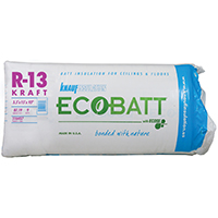 EcoBatt Pro Cut PR118 Kraft Faced Fiberglass Insulation, 15 in W x 93 ft L x 3-1/2 in T, 87.19 sq-ft, Wood Frame