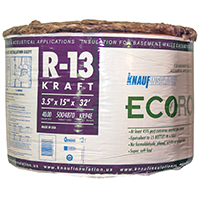 EcoRoll KR94E Kraft Faced Fiberglass Insulation, 15 in W x 32 ft L x 3-1/2 in T, 40 sq-ft, Brown
