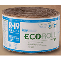 EcoRoll KR46E Kraft Faced Fiberglass Insulation, 23 in W x 39.16 ft L x 6-1/4 in T, 75.06 sq-ft, Brown